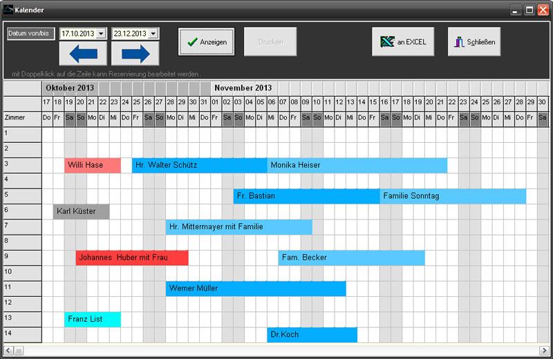Prisma Hotelsoftware Reservierungskalender