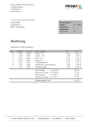 Rechnungsmodul für Prisma Gastrokasse